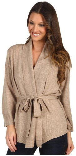 Michael Stars - Cashmere Belted Wrap Cardigan (Wood) - Apparel