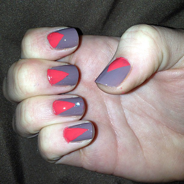 This geometric manicure is trendy and easy to pull off. Source: Instagram user brittanykliewer