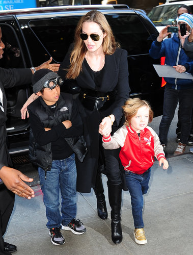 Angelina Jolie took her boys, Pax and Knox, toy shopping at FAO Schwarz in NYC in April.