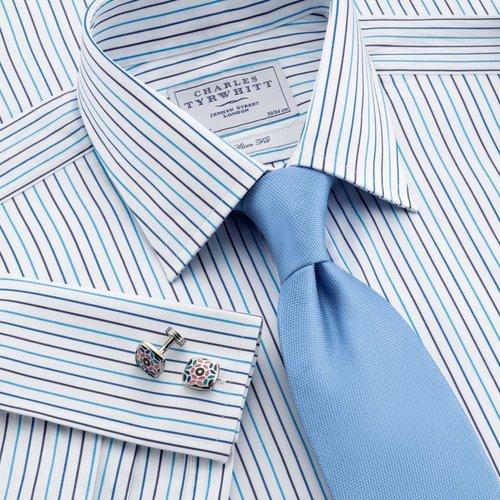White, blue & navy stripe slim fit dress shirt