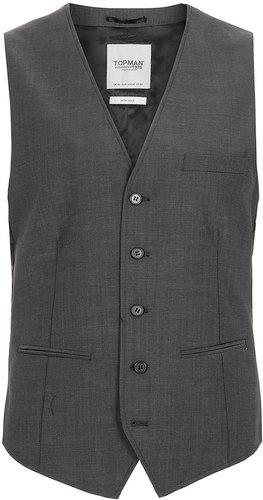 Charcoal Skinny Suit Waistcoat