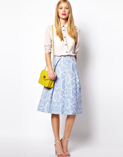ASOS Midi Skirt In Blue Floral Jacquard