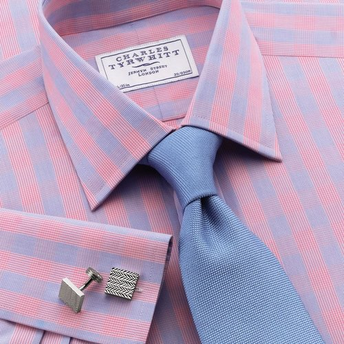 Jermyn St sky and pink check slim fit dress shirt