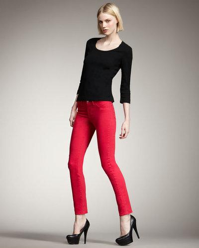 J Brand Jeans 811 Mid-Rise Skinny Twill Jeans, Shocking Pink