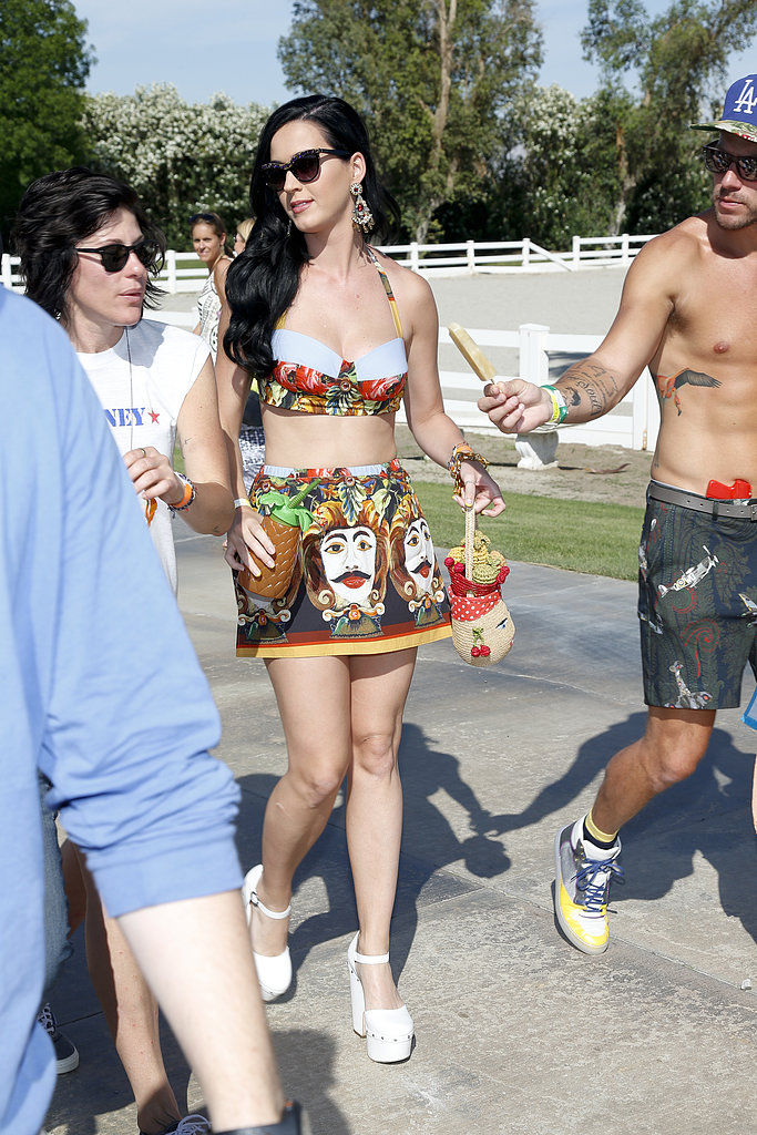 Katy Perry showed skin en route to the Lacoste L!ve Coachella Desert Pool Party in 2013.