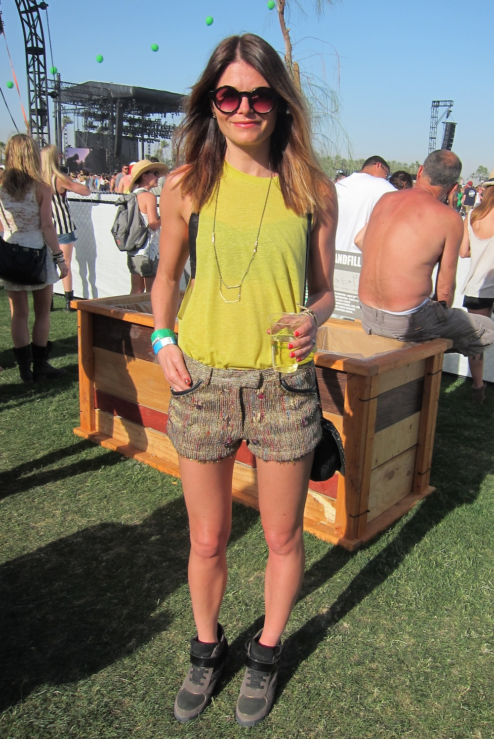 Sequined, embroidered shorts added a sparkly finish to this cool Coachella look. Source: Chi Diem Chau