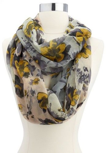 Ombre Floral Print Infinity Scarf