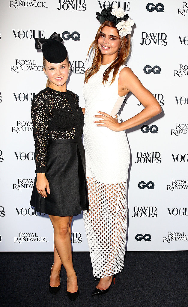 Emma Freedman and Samantha Harris fit the monochrome theme at David Jones Derby Day on April 13.