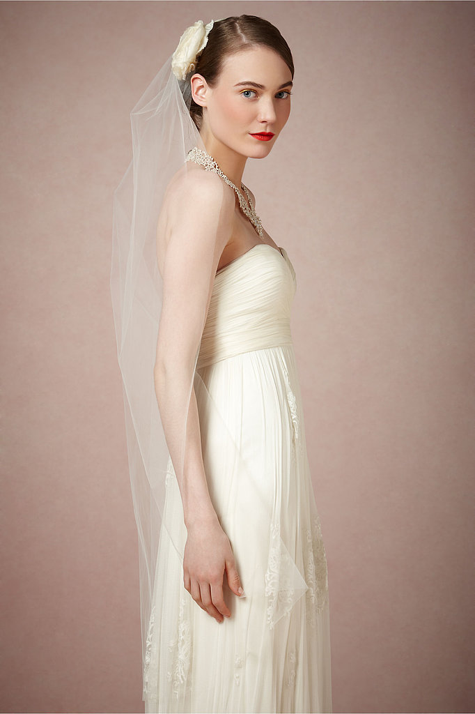 Debra Moreland's trellis veil ($350) is a pretty option for a more traditional wedding look.