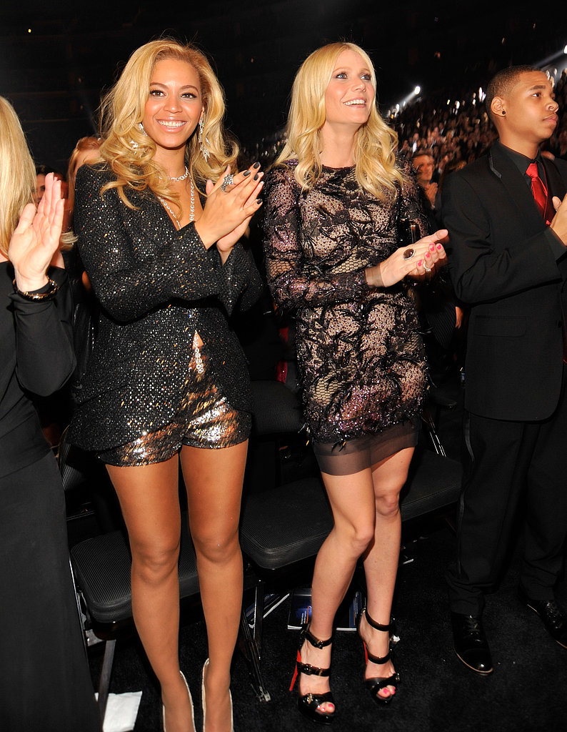Gwyneth sat front row in a decorated Rachey Roy confection and sky-high Christian Louboutin pumps at the 2011 Grammy Awards.