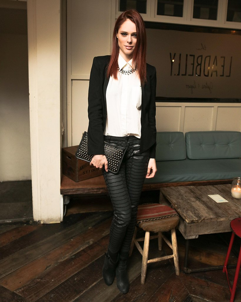 Coco Rocha took a more conservative approach to the trend at a party in NYC. She tucked a white blouse into black leather animal-print pants, then completed her nighttime look with a black blazer, black studded clutch, and a statement necklace.  Benjamin Lozovsky/BFAnyc.com