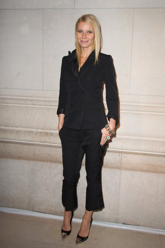 Gwyneth went monochrome in a black Louis Vuitton Pre-Fall 2012 suit and studded heels while attending the Louis Vuitton —Marc Jacobs exhibition in Paris.