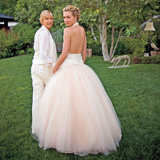 "Ellen DeGeneres and Portia de Rossi said ""I do"" at their LA home in August 2008.  Ellen donned a white suit, while Portia showed off her back in a John Galliano dip-dyed silk faille gown."