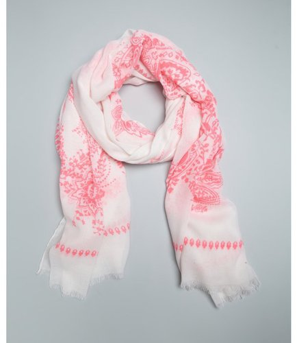 Wyatt white and neon pink paisley printed fringed scarf