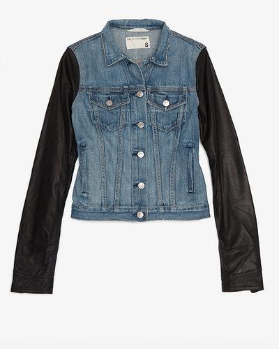 Rag & Bone/jean Rag & Bone/jean Leather Sleeve Denim Jacket