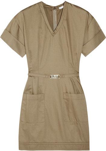 Victoria, Victoria Beckham Belted cotton-sateen mini dress