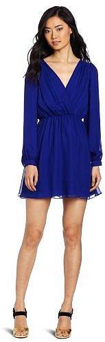 aryn K Women's Deep V-Neck Long Sleeve Mini Dress