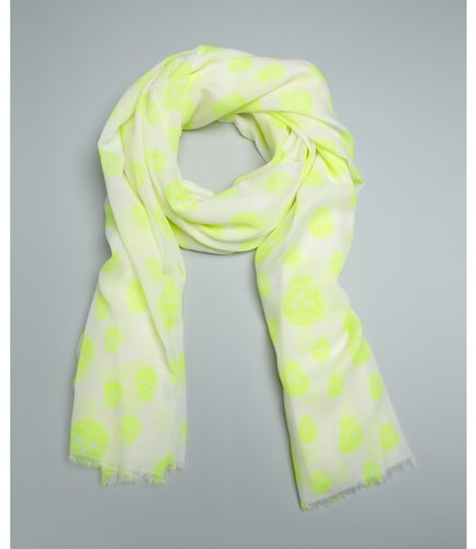 Wyatt white and neon yellow skull printed fringed scarf