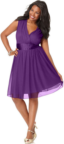 Trixxi Plus Size Dress, Sleeveless Banded Empire A-Line
