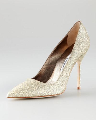 Manolo Blahnik Gold Glitter Pump