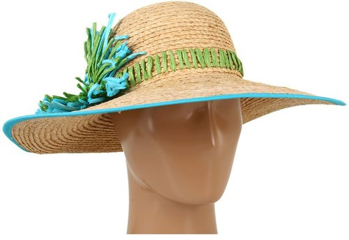 Betsey Johnson - Raffia Flower Floppy (Turquoise) - Hats