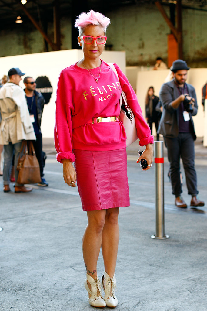 Temper your bold, hot-pink hues with neutral shoes.