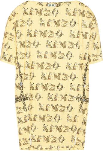 KENZO Tiger-print stretch-cotton twill dress