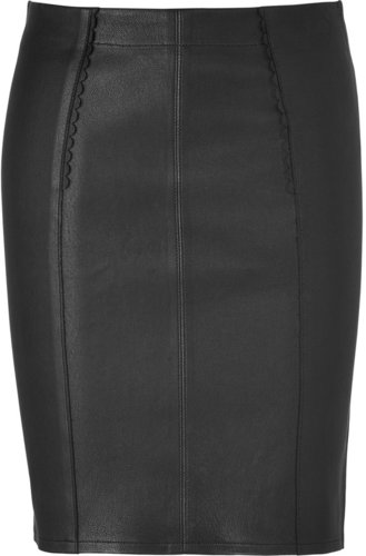 Marc by Marc Jacobs Black Leather Mirah Pencil Skirt