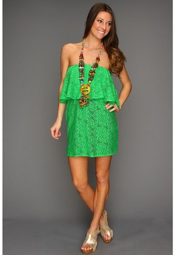 Tbags Los Angeles - Layered Tube Mini Dress with Multi-Colored Necklace (Kelly Green) - Apparel