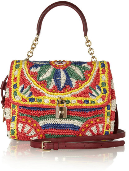 Dolce & Gabbana Miss Dolce medium woven raffia shoulder bag