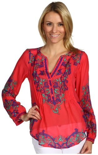 Hale Bob - Amalfi Chic Silk Blouse (Coral) - Apparel