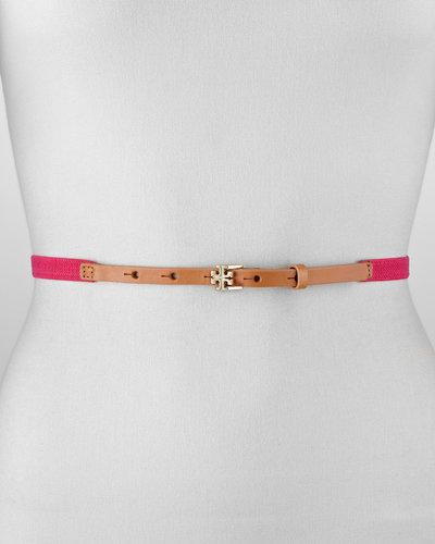 Tory Burch Skinny Logo Stretch Belt, Bougainville Pink