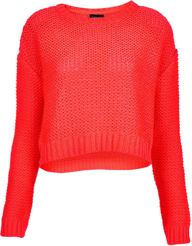 Knitted Fluro Pink Crop Jumper