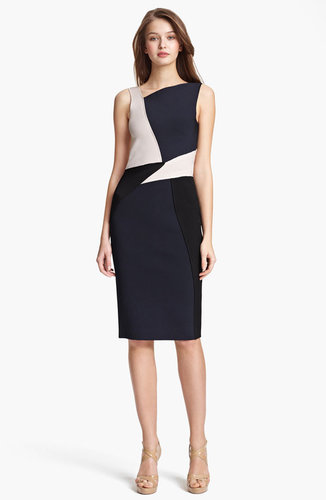 Oscar de la Renta Colorblock Knit Dress
