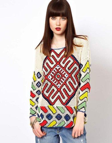 Eleven Paris Aztec Crochet Sweater