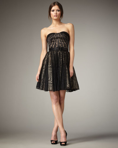Aidan Mattox Lace-Skirt Strapless Dress