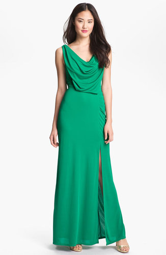 BCBGMAXAZRIA Draped Cowl Neck Mesh Gown