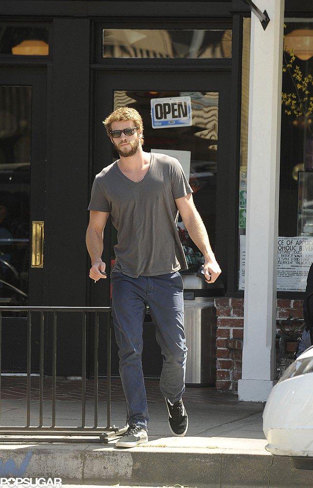 Liam Hemsworth left Sweetsalt restaurant in LA.