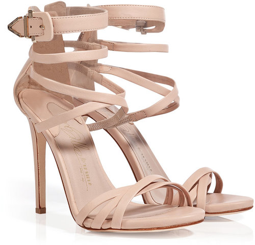 Le Silla Nude Leather Strappy Sandals