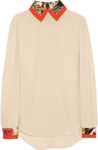 Preen by Thornton Bregazzi Strawberry cotton-trimmed silk crepe de chine blouse