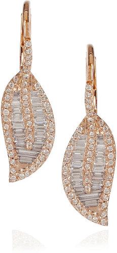 Anita Ko 18-karat rose gold and diamond leaf earrings