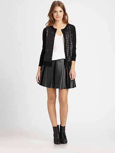 Boundary & Co. Pleated Faux Leather Skirt