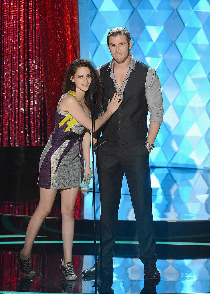 Kristen Stewart copped a feel of Chris Hemsworth's rock-hard chest at the 2012 MTV Movie Awards.