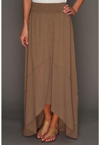 Michael Stars - Slub Jersey With Coile Mix Hi-Low Maxi Skirt (Cobblestone) - Apparel