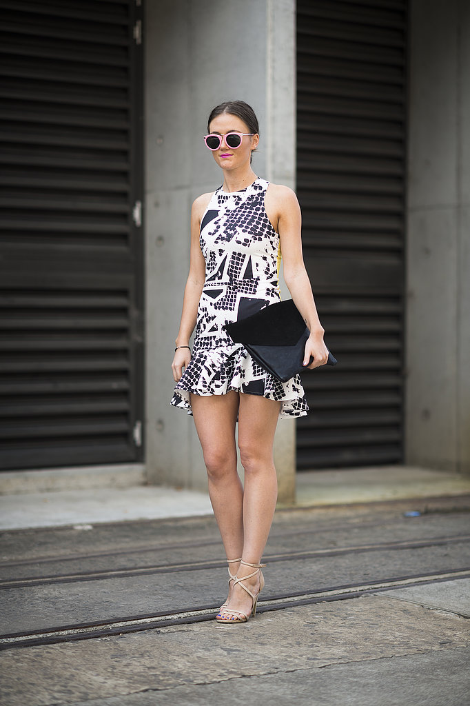 A trumpet skirt and high-wattage print (and shades!) made this a snap-worthy moment. Source: Le 21ème   Adam Katz Sinding