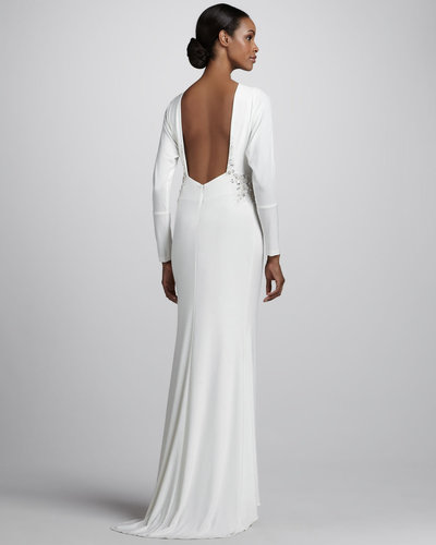 Mark + James by Badgley Mischka Long-Sleeve Jersey Gown