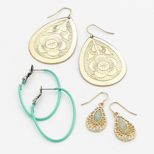 Mudd gold tone oval hoop and teardrop earring set