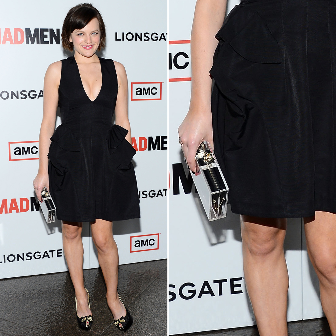 At the Mad Men season six premiere in LA, Elisabeth Moss donned a plunging McQ Alexander McQueen LBD with a Lucite box clutch from Charlotte Olympia.
