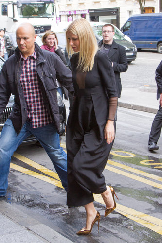 Gwyneth Paltrow was spotted in Paris wearing a sheer-infused Barbara Casasola black jumpsuit during her Iron Man 3 promo tour.