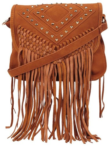 Style Tryst Bags Studded Fringe Cross Body Bag